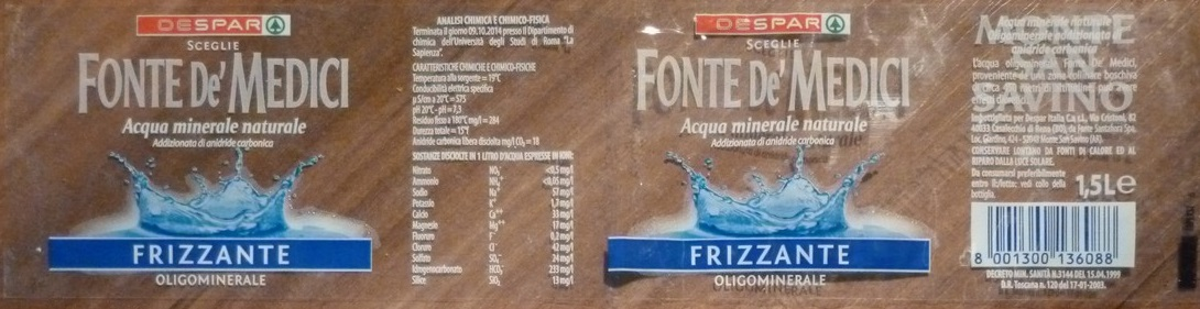 Italy - Fonte de Medici (transparent label) 1500ml